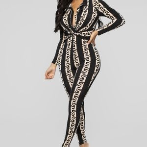 Black and taupe collared jumpsuit